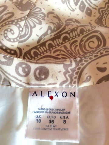 Alexon Beige & Ivory Print Occasion Jacket Size 10 - Whispers Dress Agency - Womens Suits & Tailoring - 4