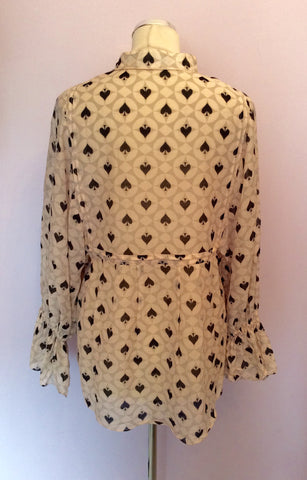 Alice Temperley Pale Pink, Grey & Black Spade Print Smock Top Size 10 - Whispers Dress Agency - Womens Tops - 4