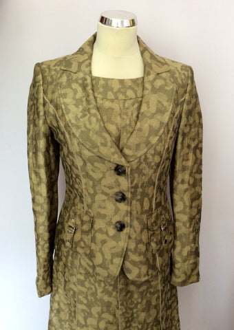 BETTY BARCLAY PALE GOLD & BRONZE PRINT LINEN DRESS & JACKET SUIT SIZE 10 - Whispers Dress Agency - Womens Suits & Tailoring - 2