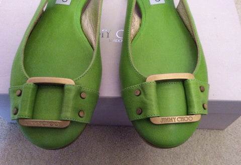 Brand New Jimmy Choo Neon Green Morse Buckle Trim Slingback Flats Size 7/40 - Whispers Dress Agency - Womens Flats - 2