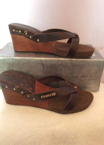 Brand New Firetrap Brown Slip On Wedge Heel Mules Size 7/40 - Whispers Dress Agency - Womens Mules & Flip Flops - 1