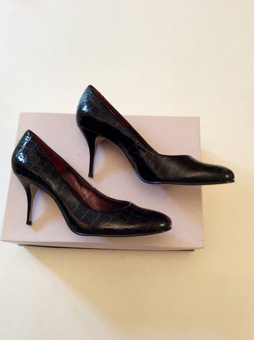 BERTIE BLACK CROC PATENT LEATHER HEELS SIZE 7/40 - Whispers Dress Agency - Womens Heels - 3