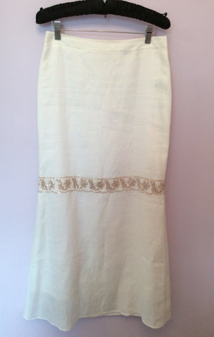 Brand New Birger Et Mikkelsen White Long Embroidered & Sequin Trim Skirt Size 36 UK 8 - Whispers Dress Agency - Womens Skirts - 1