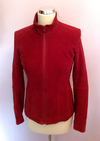 Jigsaw Cranberry Red Brushed Cotton Zip Up Silk Lined Jacket Size 8 - Whispers Dress Agency - Sold - 1