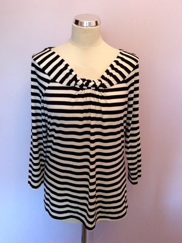 AUSTIN REED BLACK & WHITE STRIPE 3/4 SLEEVE TOP SIZE L - Whispers Dress Agency - Womens Tops - 1