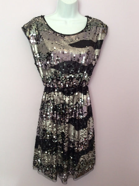 Marks & Spencer Black & Silver Sequin Dress Age 16 Years - Whispers Dress Agency - Sold - 1
