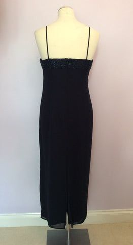 After Six By Roland Joyce Dark Blue Beaded Evening Dress Size 14 - Whispers Dress Agency - Womens Dresses - 3