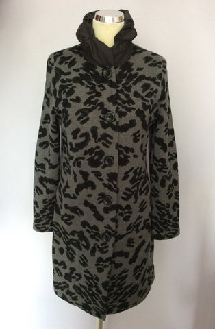 BETTY BARCLAY GREY & BLACK PRINT LONG JACKET SIZE 10/12 - Whispers Dress Agency - Womens Coats & Jackets - 1