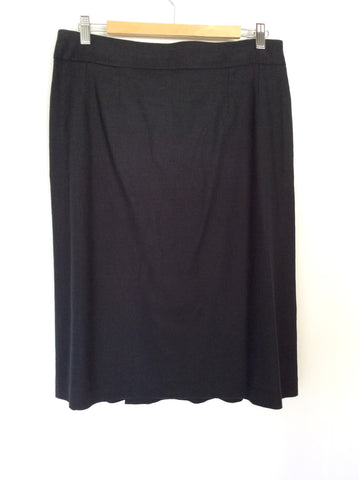 AQUASCUTUM BLACK LINEN BLEND PLEATED FRONT SKIRT SIZE 14 - Whispers Dress Agency - Womens Skirts - 2