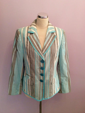 Basler Turqouise, White & Grey Stripe Jacket Size 14 - Whispers Dress Agency - Womens Coats & Jackets - 1