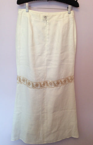 Brand New Birger Et Mikkelsen White Long Embroidered & Sequin Trim Skirt Size 36 UK 8 - Whispers Dress Agency - Womens Skirts - 3