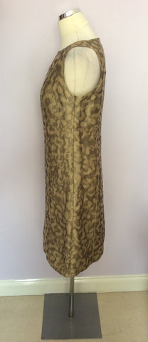 BETTY BARCLAY PALE GOLD & BRONZE PRINT LINEN DRESS & JACKET SUIT SIZE 10 - Whispers Dress Agency - Womens Suits & Tailoring - 6
