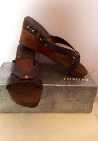 Brand New Firetrap Brown Slip On Wedge Heel Mules Size 7/40 - Whispers Dress Agency - Womens Mules & Flip Flops - 3