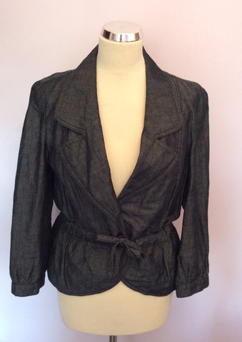 BANDOLERA CHARCOAL GREY COTTON & LINEN JACKET SIZE 14 - Whispers Dress Agency - Womens Coats & Jackets - 1