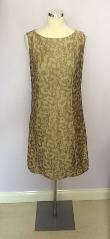BETTY BARCLAY PALE GOLD & BRONZE PRINT LINEN DRESS & JACKET SUIT SIZE 10 - Whispers Dress Agency - Womens Suits & Tailoring - 5