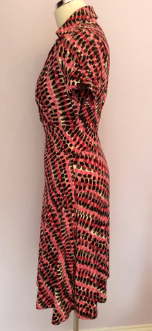 Betty Jackson Pink & Black Print Dress Size 8 - Whispers Dress Agency - Womens Dresses - 2
