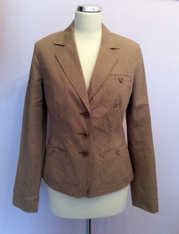 Betty Barclay Brown Pinstripe Jacket Size 10 - Whispers Dress Agency - Womens Coats & Jackets - 1