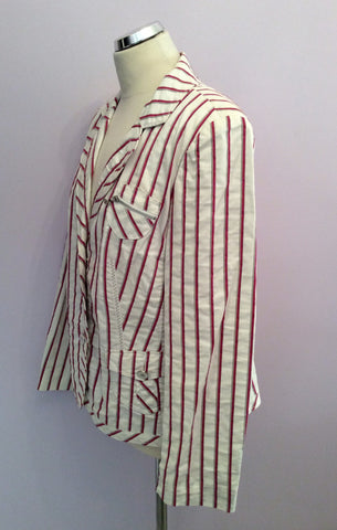 Betty Barclay White, Pink & Grey Striped Jacket Size 16 - Whispers Dress Agency - Womens Coats & Jackets - 3