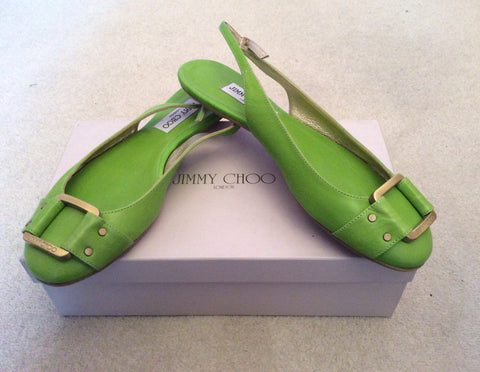 Brand New Jimmy Choo Neon Green Morse Buckle Trim Slingback Flats Size 7/40 - Whispers Dress Agency - Womens Flats - 1