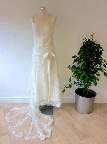 Beautiful Ivory Embroidered & Beaded Lace Wedding Dress With Train Size UK 6/8 - Whispers Dress Agency - Womens Dresses - 1
