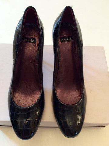 BERTIE BLACK CROC PATENT LEATHER HEELS SIZE 7/40 - Whispers Dress Agency - Womens Heels - 1