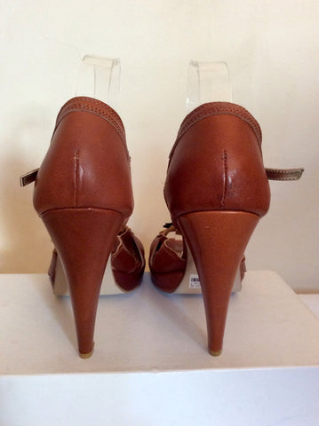 Brand New Emilio Lucax Tan Brown Leather Peeptoe Sandals Size 7/40 - Whispers Dress Agency - Womens Sandals - 4
