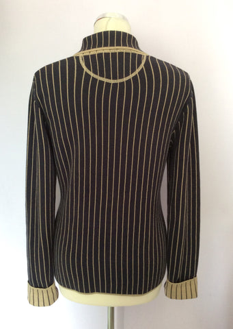 BETTY BARCLAY DARK BLUE & BEIGE PINSTRIPE KNIT JACKET SIZE 10/12 - Whispers Dress Agency - Womens Coats & Jackets - 3