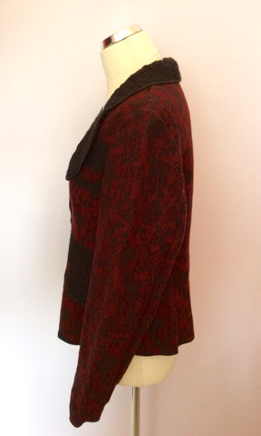 Aria Dark Red & Black Wool Blend Jacket Size 14 - Whispers Dress Agency - Womens Coats & Jackets - 2