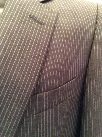 Brand New Jaeger Grey Pinstripe 'Mayfair' Wool Suit Jacket Size 40R - Whispers Dress Agency - Mens Suits & Tailoring - 2