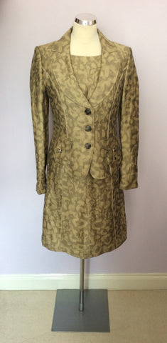 BETTY BARCLAY PALE GOLD & BRONZE PRINT LINEN DRESS & JACKET SUIT SIZE 10 - Whispers Dress Agency - Womens Suits & Tailoring - 1