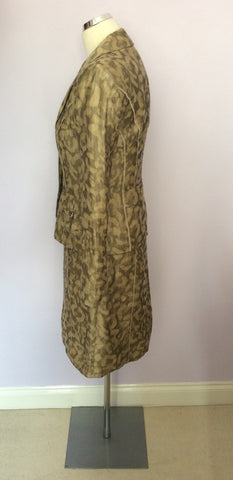 BETTY BARCLAY PALE GOLD & BRONZE PRINT LINEN DRESS & JACKET SUIT SIZE 10 - Whispers Dress Agency - Womens Suits & Tailoring - 3