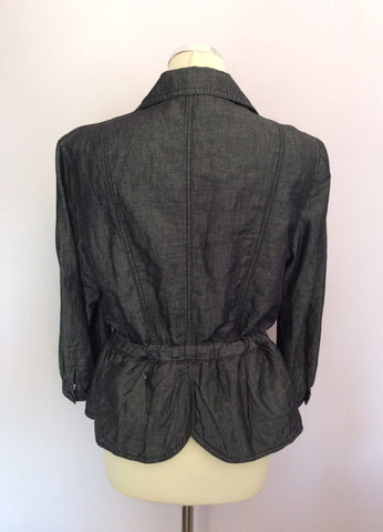 BANDOLERA CHARCOAL GREY COTTON & LINEN JACKET SIZE 14 - Whispers Dress Agency - Womens Coats & Jackets - 2