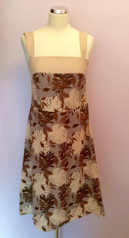August Silk Floral Print Linen Dress Size 12 - Whispers Dress Agency - Womens Dresses - 1