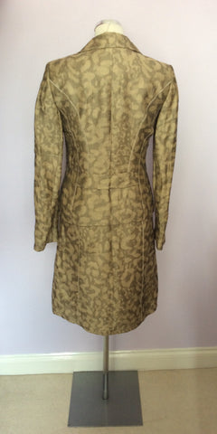 BETTY BARCLAY PALE GOLD & BRONZE PRINT LINEN DRESS & JACKET SUIT SIZE 10 - Whispers Dress Agency - Womens Suits & Tailoring - 4