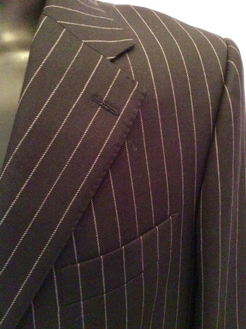 Aquascutum Charcoal Pinstripe Wool Suit Jacket Size 42L - Whispers Dress Agency - Mens Suits & Tailoring - 2