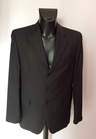 Austin Reed Kensington Black Pinstripe Wool Suit Size 40L/34L - Whispers Dress Agency - Mens Suits & Tailoring - 2