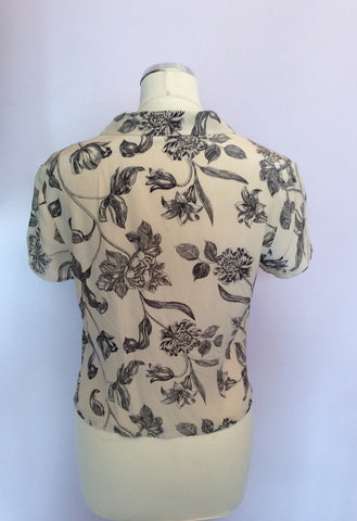 Alexon Cream & Black Floral Print Silk Blouse & Skirt Size 12 - Whispers Dress Agency - Womens Suits & Tailoring - 3