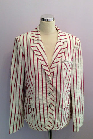 Betty Barclay White, Pink & Grey Striped Jacket Size 16 - Whispers Dress Agency - Womens Coats & Jackets - 1