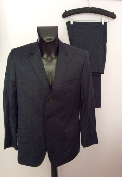 Smart Jaeger Dark Blue Weave 100% Wool Suit Size 40S/34W - Whispers Dress Agency - Sold - 1