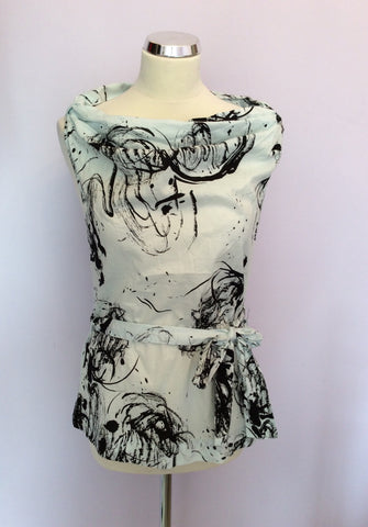 BRAND NEW FULL CIRCLE ICE CREAM & BLACK PRINT BELTED TOP SIZE 8/XS - Whispers Dress Agency - Womens Tops - 1