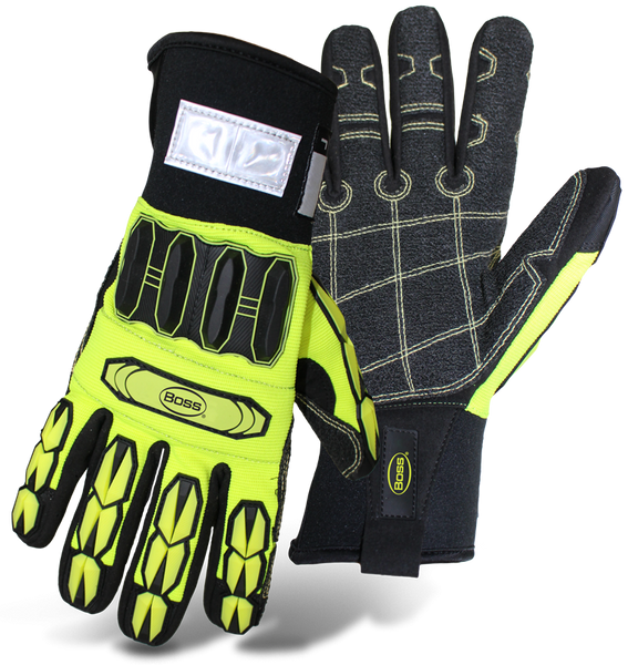 Boss 1JM760 Insulated Hi-Vis Impact, Neoprene Wrist Mechanic Gloves - AMMC