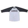 Men's 3/4 Sleeve Black and Gray T-Shirt - Savage Barbell