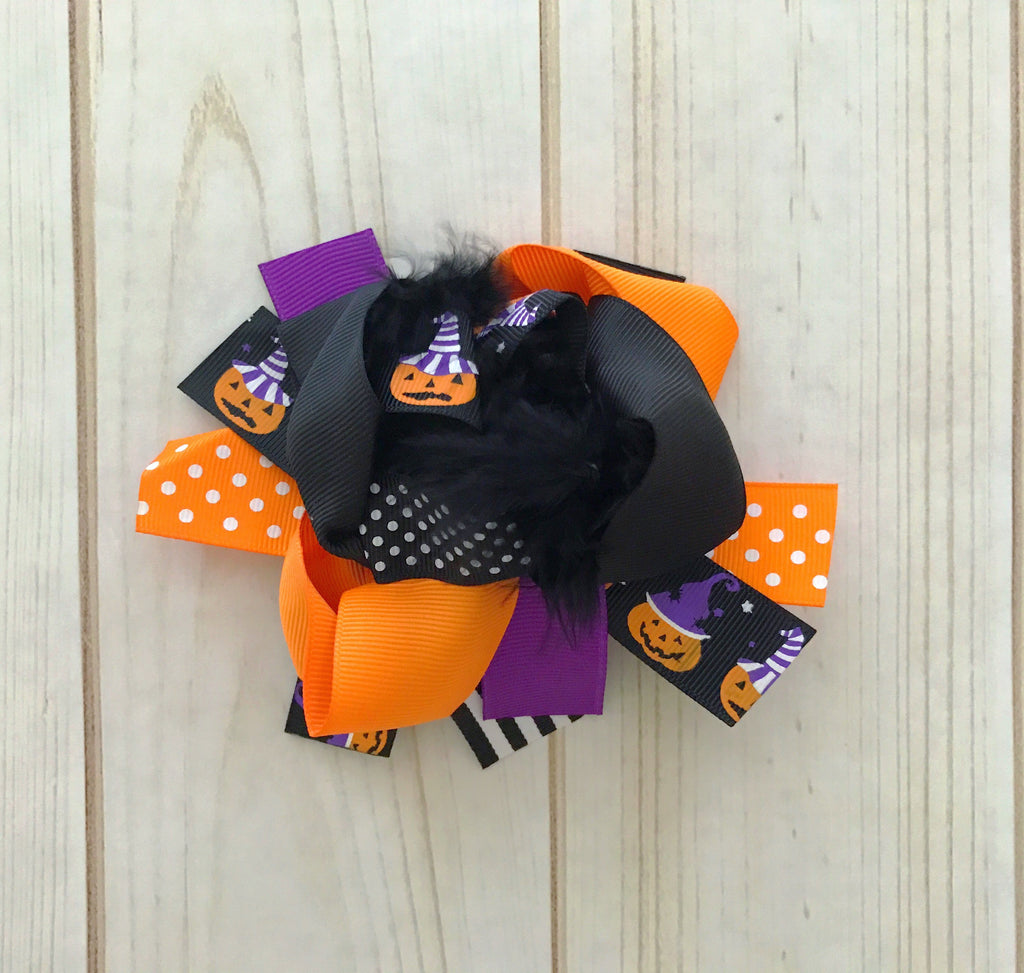 "6"" Over The Top ""Purple/Black Halloween"" Boutique Bow"