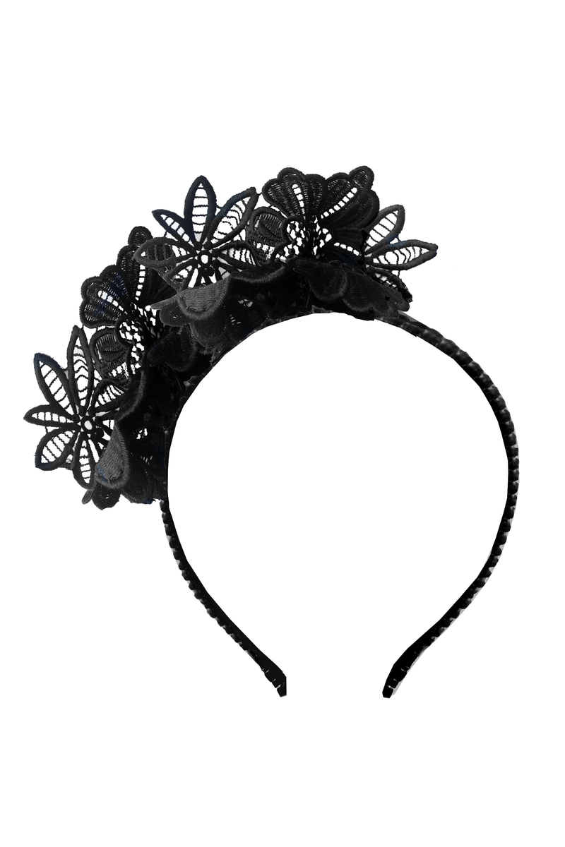 Black Flower Lace Headband - LAZY FRANCIS - Shop in store at 406 Kings Road, Chelsea, London or shop online at www.lazyfrancis.com