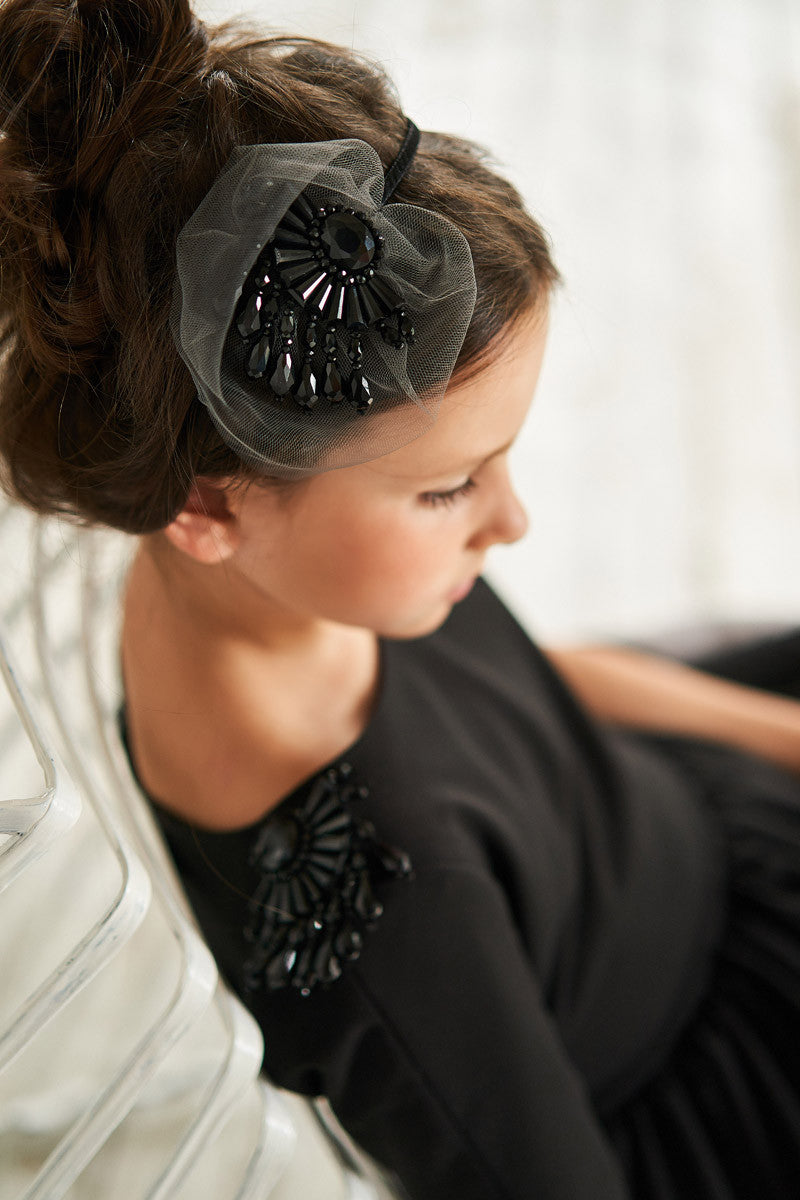 Black Handmade Girls Headband with Tulle and Gem Stones - LAZY FRANCIS - Shop in store at 406 Kings Road, Chelsea, London or shop online at www.lazyfrancis.com