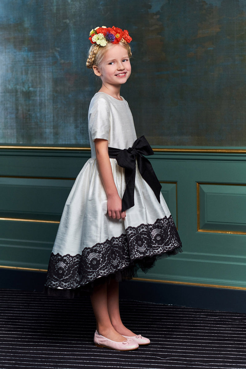 Grace Raw Silk High-Low Girls Dress With Lace - LAZY FRANCIS - Shop in store at 406 Kings Road, Chelsea, London or shop online at www.lazyfrancis.com