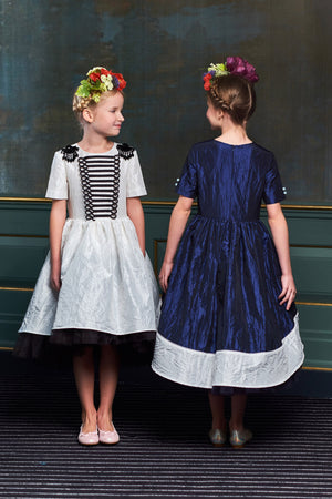 Navy Blue & White Taffeta High-Low Girls Dress with Lace Bow - LAZY FRANCIS - Shop in store at 406 Kings Road, Chelsea, London or shop online at www.lazyfrancis.com