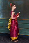 Scheherazade Raspberry Pink and Golden Yellow Raw Silk Couture Maxi Girls Dress