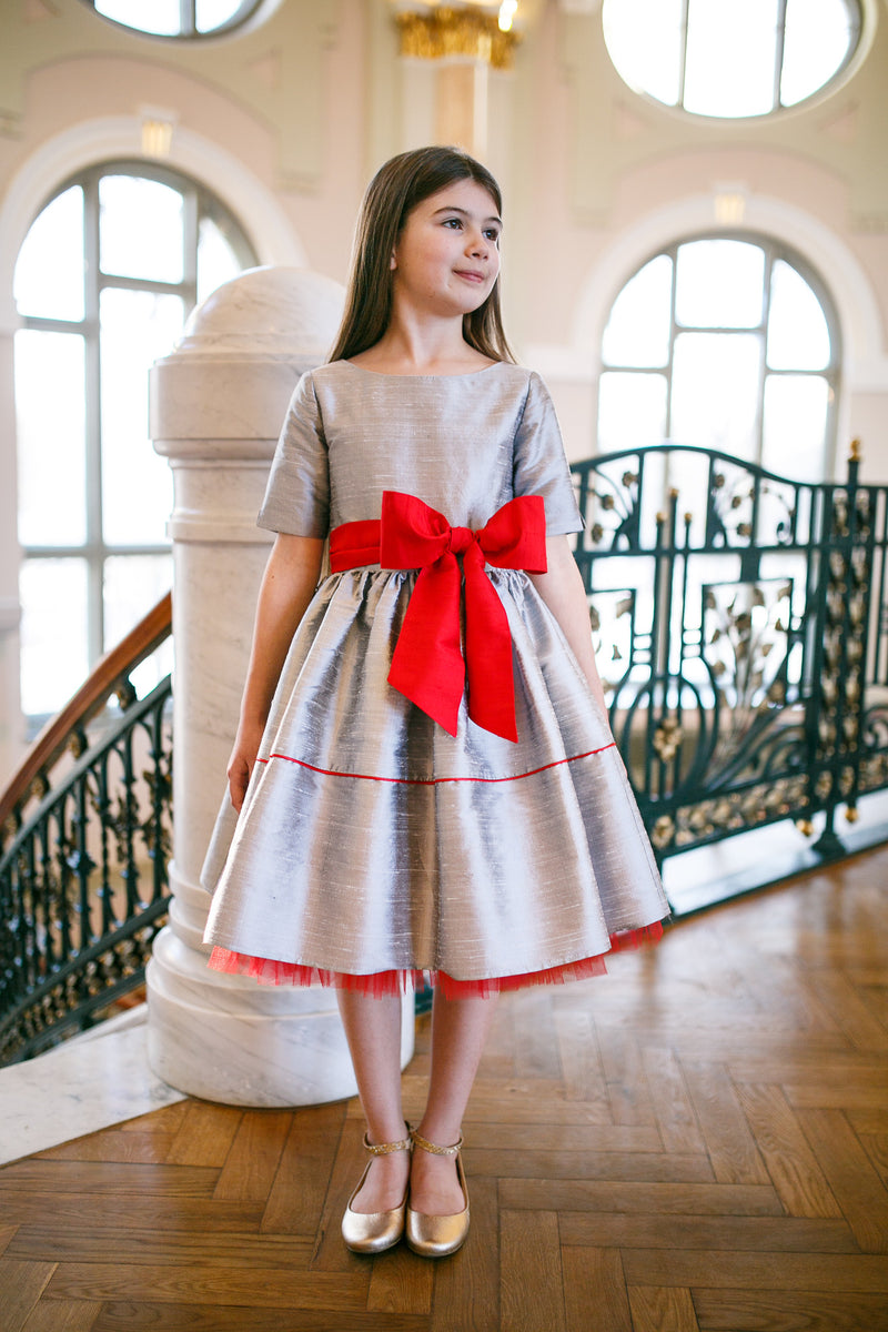 Silver Raw Silk Dress with Red Bow Exclusively for ChildrenSalon - LAZY FRANCIS - Shop in store at 406 Kings Road, Chelsea, London or shop online at www.lazyfrancis.com