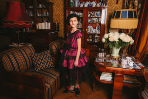 Stunning Raspberry Pink Raw Silk Queen Girls Dress with Black Tulle Ruffles - LAZY FRANCIS - Shop in store at 406 Kings Road, Chelsea, London or shop online at www.lazyfrancis.com